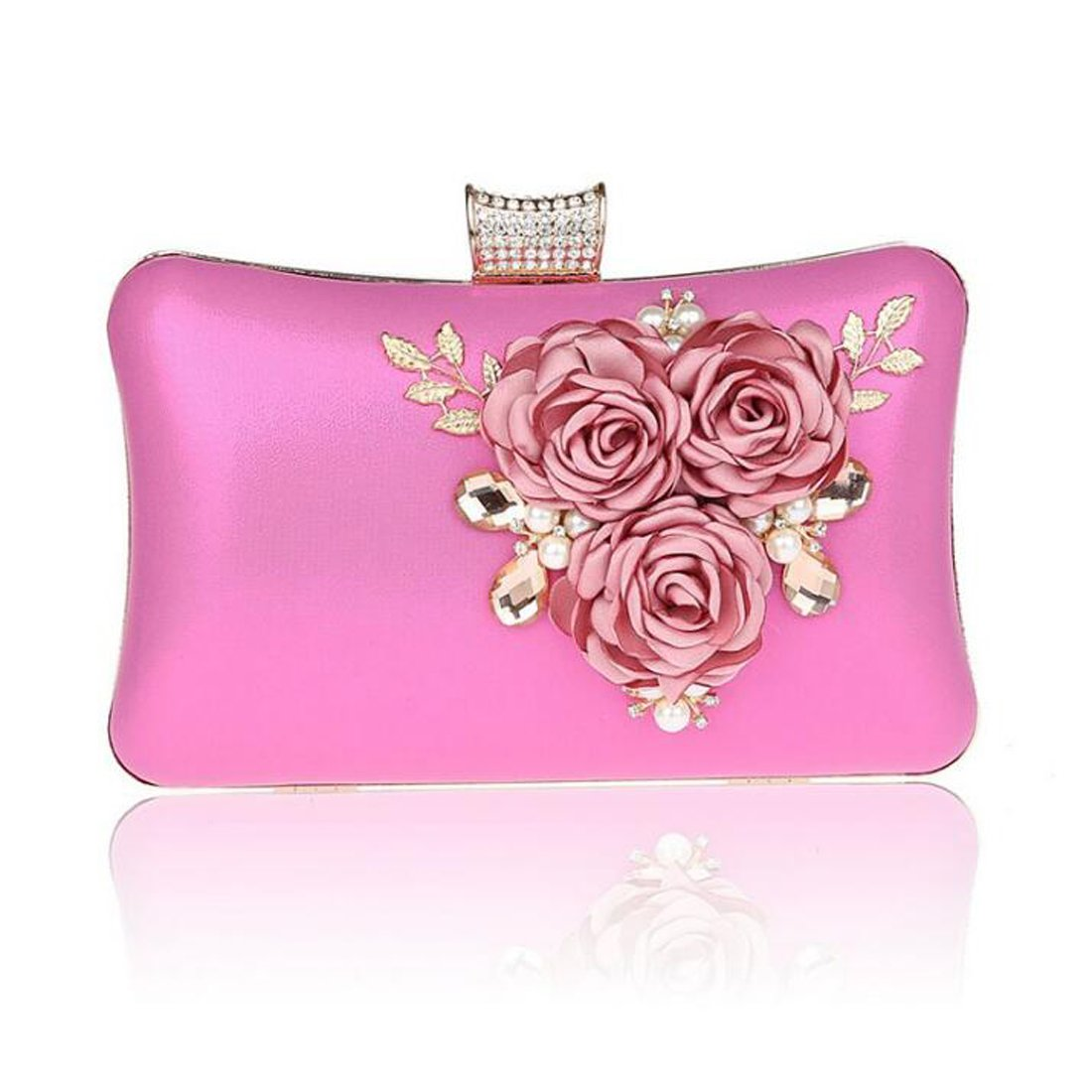 EPLAZA Women Large Capacity Flora Evening Clutch Bags Wedding Party Purse Handbags Wallet (rose red) by EPLAZA (Image #1)