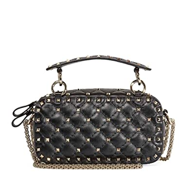 e808fe449dab Valentino Rockstud Spike Leather Camera Bag- Black  Handbags  Amazon.com