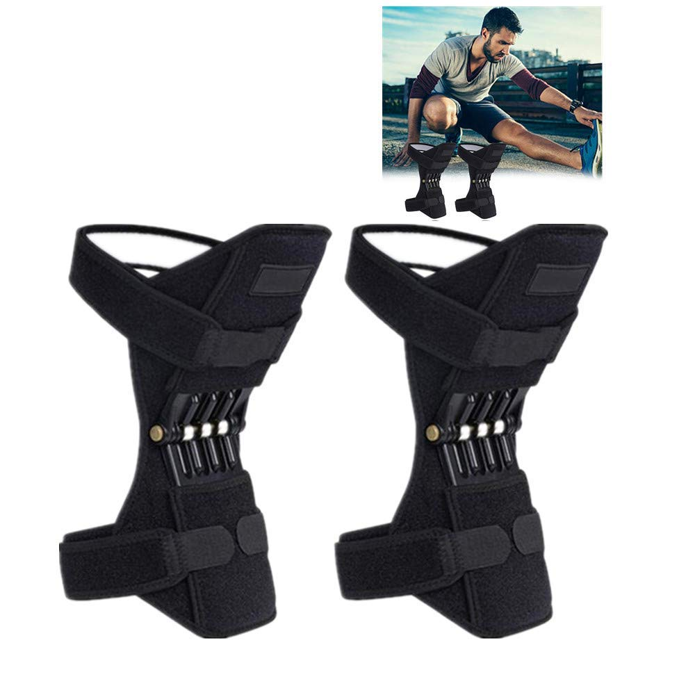 HunYUN Knee Protection Booster Joint Support Knee Pads, Knee Patella Strap, Power Lift Spring Force, Tendon Brace Band Pad for Arthritis Tendonitis Gym 1 Pair