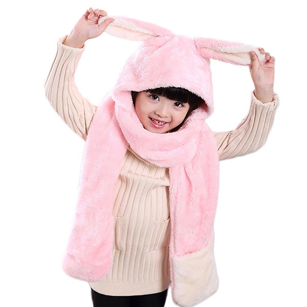 Scrox Warm Lovely Children Scarf Hat Gloves Three in One Thick Warm Plush Scarves Set Soft Neck Warmer Kids Neckerchief Winter Warm for Baby Children Gift(Pink)
