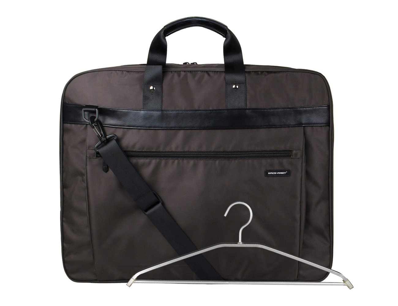 BAGSMART Travel Carryon Folded Garment Bag for Suits and Wedding Dresses with Shoulder Strap and Hanger, Brown