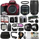 Nikon D5500 Red DSLR Digital Camera + 18-55mm VR II + 70-300mm f/4-5.6G Lens + 128GB Memory + (2) Batteries + Charger + LED Video Light + Backpack + Case + Filters + Auxiliary Lenses