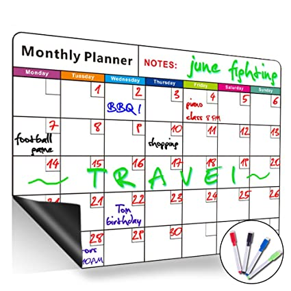 amazon com magnetic monthly calendar dry erase board large multi