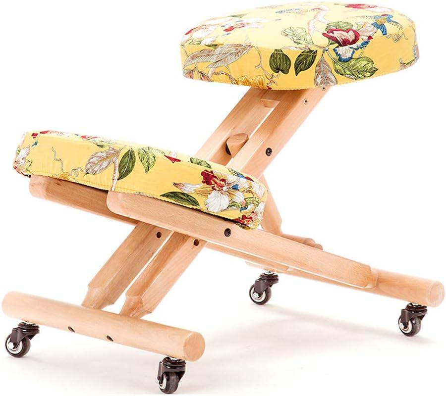 HCCX Silla ergonómica Rodillas, Madera Postura Taburete con ángulo y Altura Ajustable, Asiento Acolchado Grueso, Moderno Silla de Oficina Muebles de Ordenador