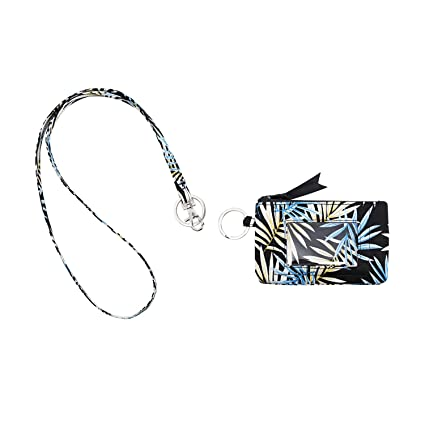 2f3f2bb0daab Leanoria Womens Lanyard with Wallet Zip ID Card Case Badge Holder Office  Lanyards (Black Backend White Blue Leaf)