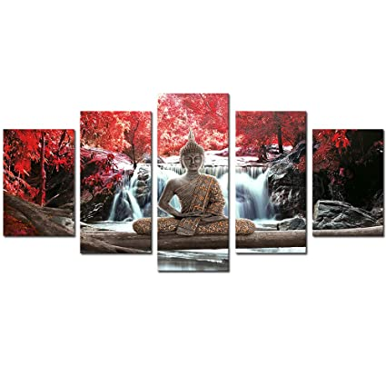 Awlxphy Decor Buddha Wall Art Canvas Waterfall Painting Framed 5 Panels For Living Room Decoration Modern Landscape Buddha Trees Zen Wall Art Giclee