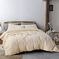 3-Piece Ecocott Duvet Cover with Zipper and 2 Pillowcases