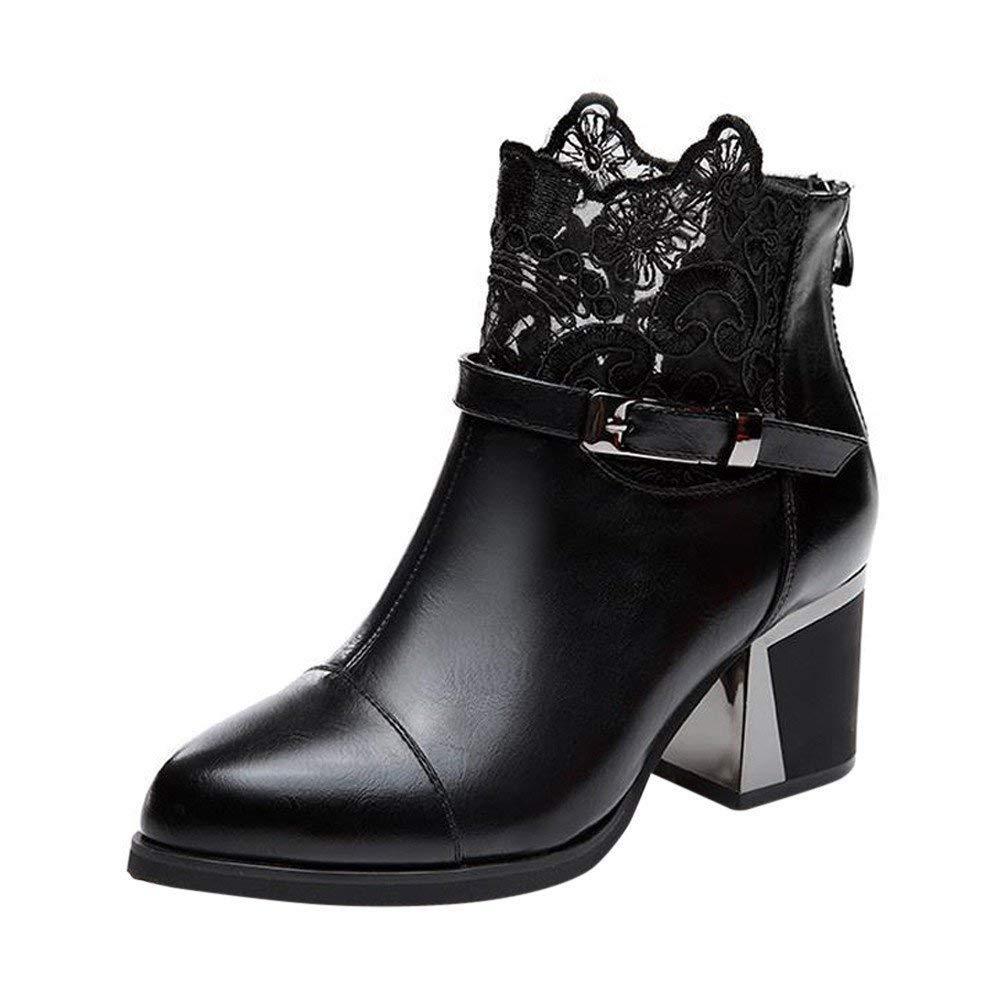 Oudan Damenstiefel Stiefeletten Damen Metall Schnalle Zip Zip Zip Plaid Lace Chunky Stiefel Mode Bequeme Schuhe Frauen Casual Stiefel PU Leder Kurzschaft (Farbe   Schwarz, Größe   40 EU) 579ab6