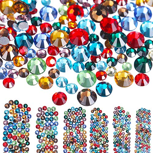 Bememo 3456 Pieces Nail Crystals AB Nail Art Rhinestones Round Beads Flatback Glass Charms Gems Stones, 6 Sizes for Nails Decoration Makeup Clothes Shoes (Multicolor, Mixed SS4 5 6 8 10 12)