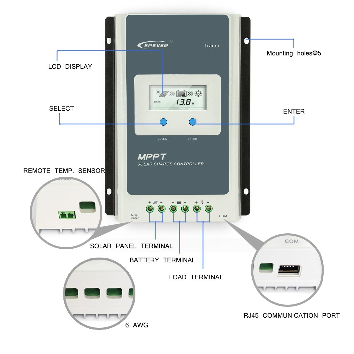 Epever 40a Mppt Solar Charge Controller Tracer A 4210a Battery Charger Circuit Besides Remote Meter Mt 50 With Lcd Display For Charging Garden
