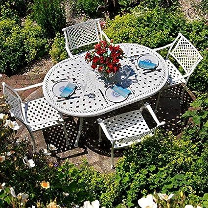 Muebles de jardín de aluminio 150 x 95 cm blanca June - 1 blanco June ping + 6 de abril de sillas blancas: Amazon.es: Hogar
