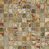 M S International Green 12 In. X 12 In. X 10mm Polished Onyx Mesh-Mounted Mosaic Tile, (10 sq. ft., 10 pieces per case)