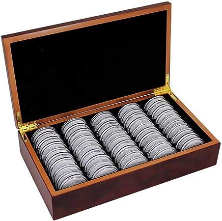 Winnerruby Cajas de Almacenamiento de Monedas, Caja de Madera de 50 PCS Cápsulas del portamonedas para la colección de Monedas, 8mm / 21mm / 25mm / 27mm / 30mm: Amazon.es: Hogar