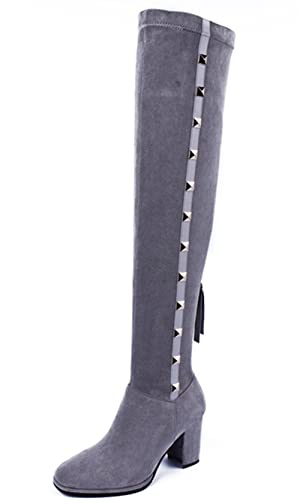 Nine Seven Suede Leather Women's Square Toe Chunky Heel Rivets Over The Knee Handmade Boot (9, black)