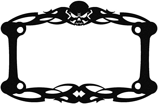 Black Tattoo Skull Skeleton Motorcycle License Plate Frame 1 Piece