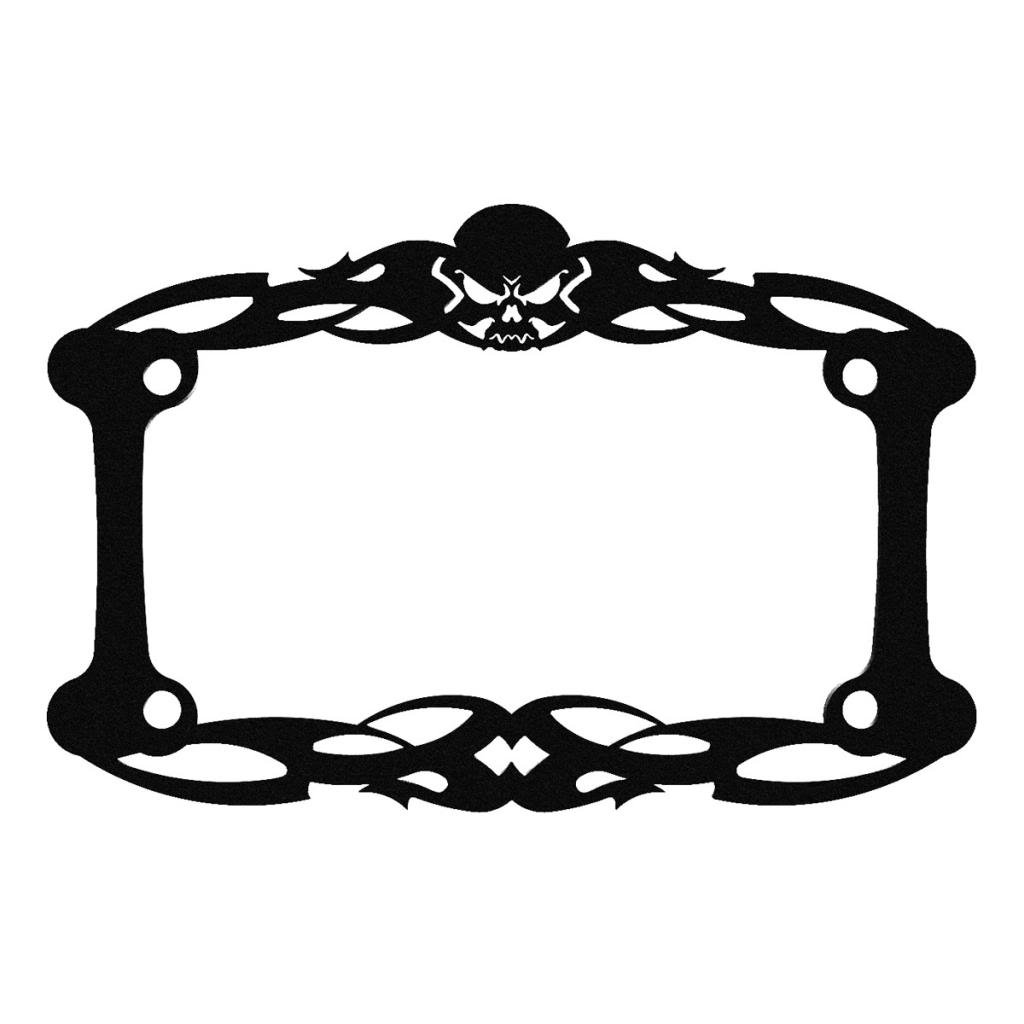 1 Piece LIC-112-Green Ferreus Industries Green Powdercoat Motorcycle License Plate Frame Tattoo Skull Skeleton Skull