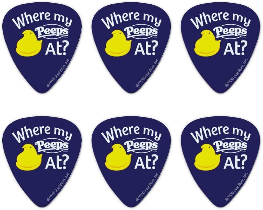 Juego de 6 púas para guitarra con texto en inglés «Where My Peeps At Novelty Guitar Picks Medium»: Amazon.es: Instrumentos musicales