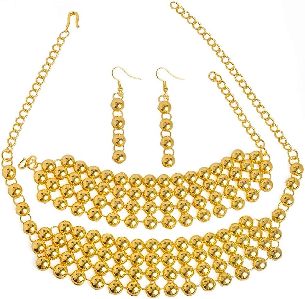 VAWAA Nouveau Demi-Cercle Perle /éthiopien 48cm Collier//Boucles doreilles//Bracelet 22cm Bijoux de Mariage Africain Arabe Cadeaux de mari/ée 48cm