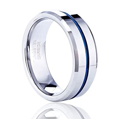 TUSEN JEWELRY 8MM Mens Wedding Band Thin Blue Line Plated Tungsten