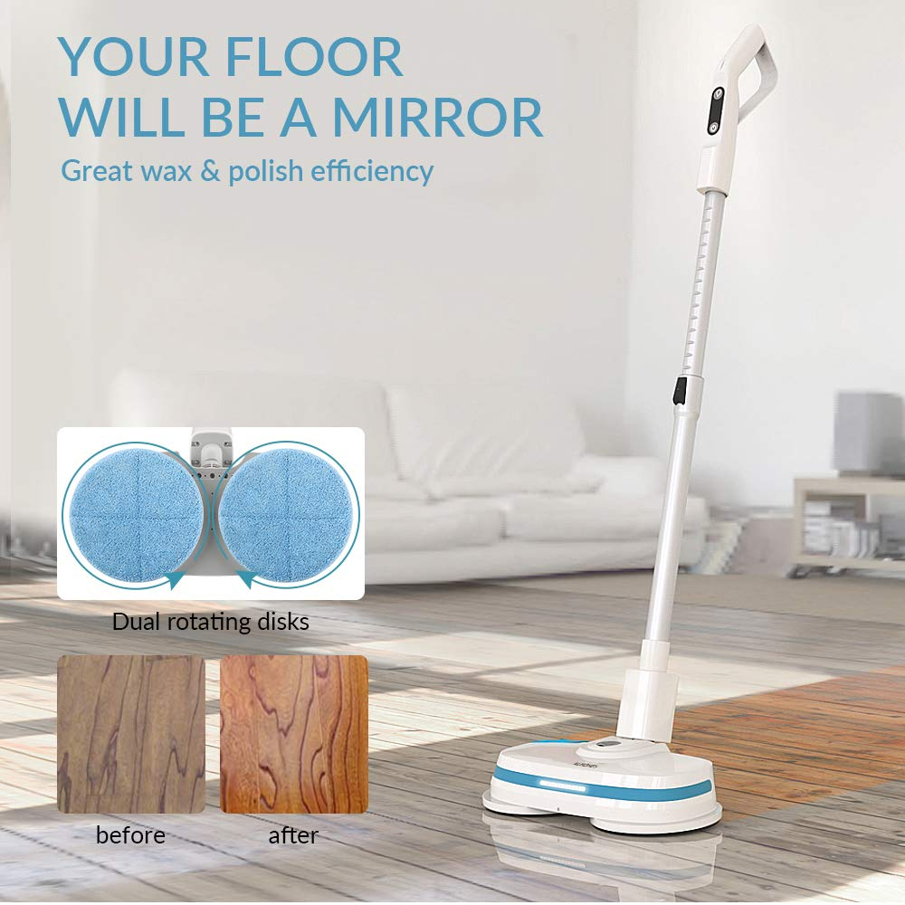 ALBOHES Cordless Spin Mop, Electronic Dual and Polisher Rechargeable Powered Floor Cleaner for All Surfaces - Rechargeable Spinning Mop-Polisher and Scrubber for Indoor Use - Reusable Pads by ALBOHES (Image #4)
