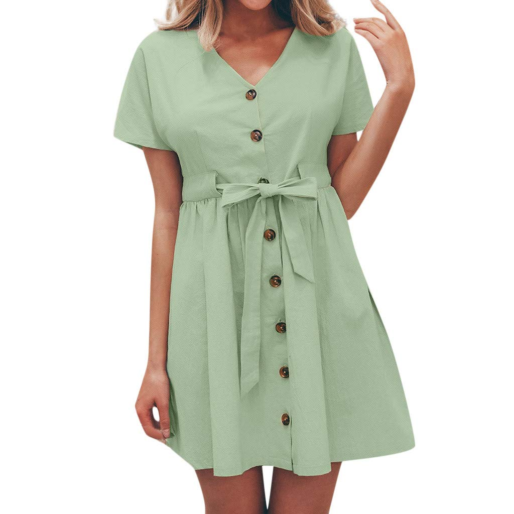Casual Dress for Women Short Sleeve Solid Button Down Bandage Pleated Flowy Hem Summer Dresses (S, Green)