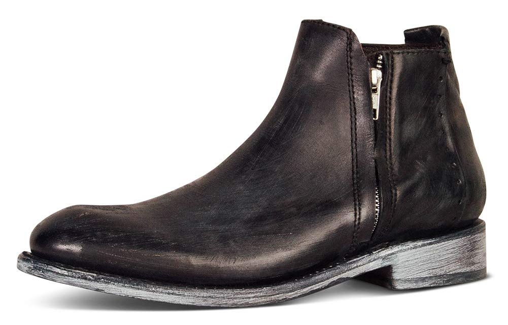 Aisun Men's Fashion Round Toe Zip Up Dress Oxford Boots Flat Ankle Booties with Zipper (Black, 7 M US)
