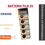 5 BATTERIE A BOTTONE CR2025 LITIO 3 V PILE CR 2025