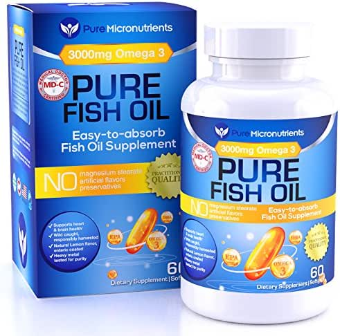 Omega 3 Fish Oil Supplement, Advanced EPA/DHA Triple Strength, 3000 mg, Burpless with Lemon, 60 Softgels, Pharmaceutical Grade - Pure Micronutrients (1 Bottle)