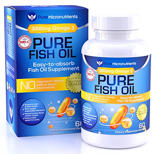 Omega 3 Fish Oil Supplement, Advanced EPA/DHA Triple Strength, 3000 mg, Burpless with Lemon, 60 Softgels, Pharmaceutical Grade – Pure Micronutrients (1 bottle)