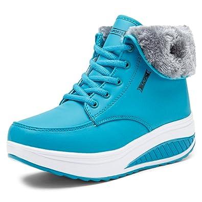 3a9ac4922aa6 SAGUARO Femmes Bottes de Neige Chaud Fourrure Cheville Bottines Impermeable  Antidérapant Boots Fourrées Chaussures pour Hiver