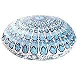 SODIAL(R) Stylish Large Mandala Floor Pillows Case Round Bohemian Meditation Cushion Cover (Pillow inner is not included)sky blue
