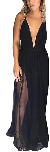 Donna Vestiti Lunghi Chiffon Con Spacco Halterneck V Profondo Vestito Da Sera Eleganti Da Cerimonia ...