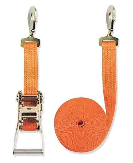 4000 daN, 2 piezas, 8 m, 50 mm de ancho Pulpo con hebilla y mosquet/ón para baca Braun color naranja