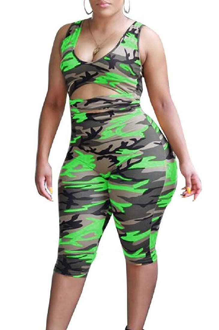 ARTFFEL Womens Camouflage Print Belted Cut Out Deep V Neck Romper Jumpsuits