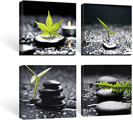 Amazon Com Sumgar Framed Wall Art Bathroom Black And White Canvas Paintings Green Pictures Zen Stone Spa 4 Piece 12x12 In Posters Prints