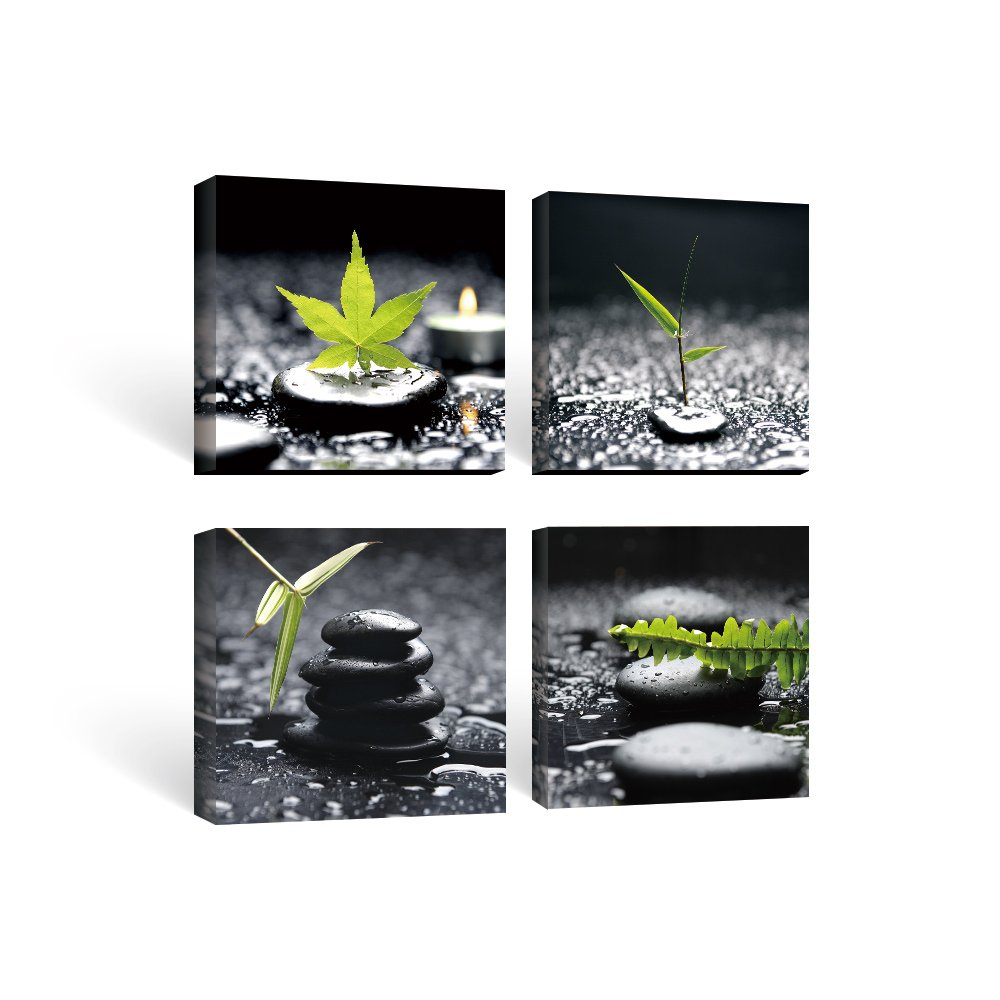 SUMGAR Black and White Wall Art Paintings on Canvas for Bathroom Zen Stone and Green Leaf Pictures, 12''x12''x4pcs
