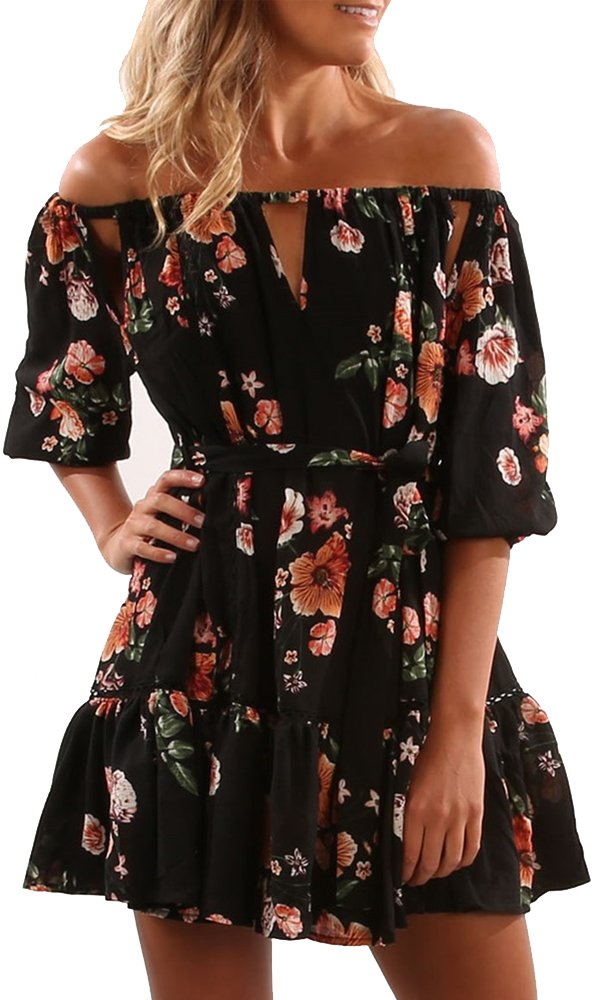 e80f19ef67b Galleon - Yobecho Women Summer Off Shoulder Strapless Floral Print Pleated  Dresses (Medium