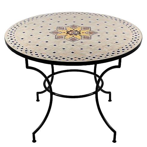 Gartentisch rund mosaik  Marokkanischer Mosaiktisch ø 100cm rund Gartentisch Fliesentisch ...