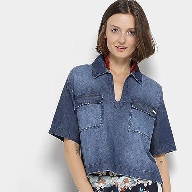 5b22c190fd Camisa Jeans Coca-cola Cropped Estonada Feminina - Azul - P: Amazon ...