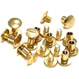 "10 pack 3/8"" Solid Brass Gold Chicago Screws Leather Repair Screw Post Fastener"