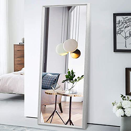 PexFix Floor Mirror Full Length 65 x22 , Standing Mirror Classic Color Blocking Distressed Framed Bedroom Dressing Mirror Wall Mounted Mirror Grey Wood Grain with Light Gold Liner