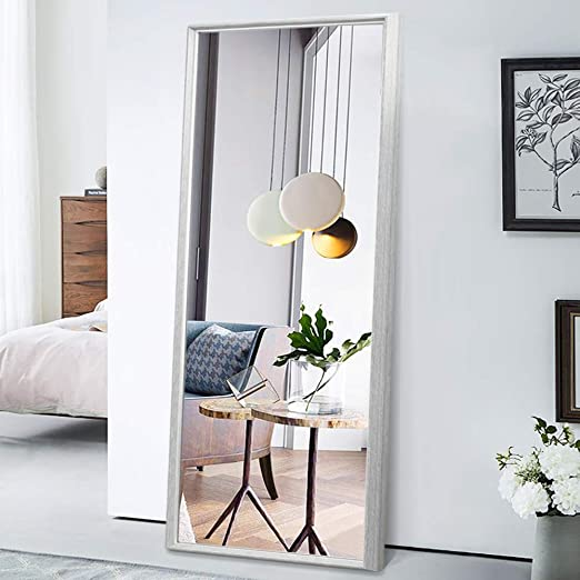 Amazon Com Pexfix Floor Mirror Full Length 65 X22 Standing Mirror Classic Color Blocking Distressed Framed Bedroom Dressing Mirror Wall Mounted Mirror Grey Wood Grain With Light Gold Liner Furniture Decor