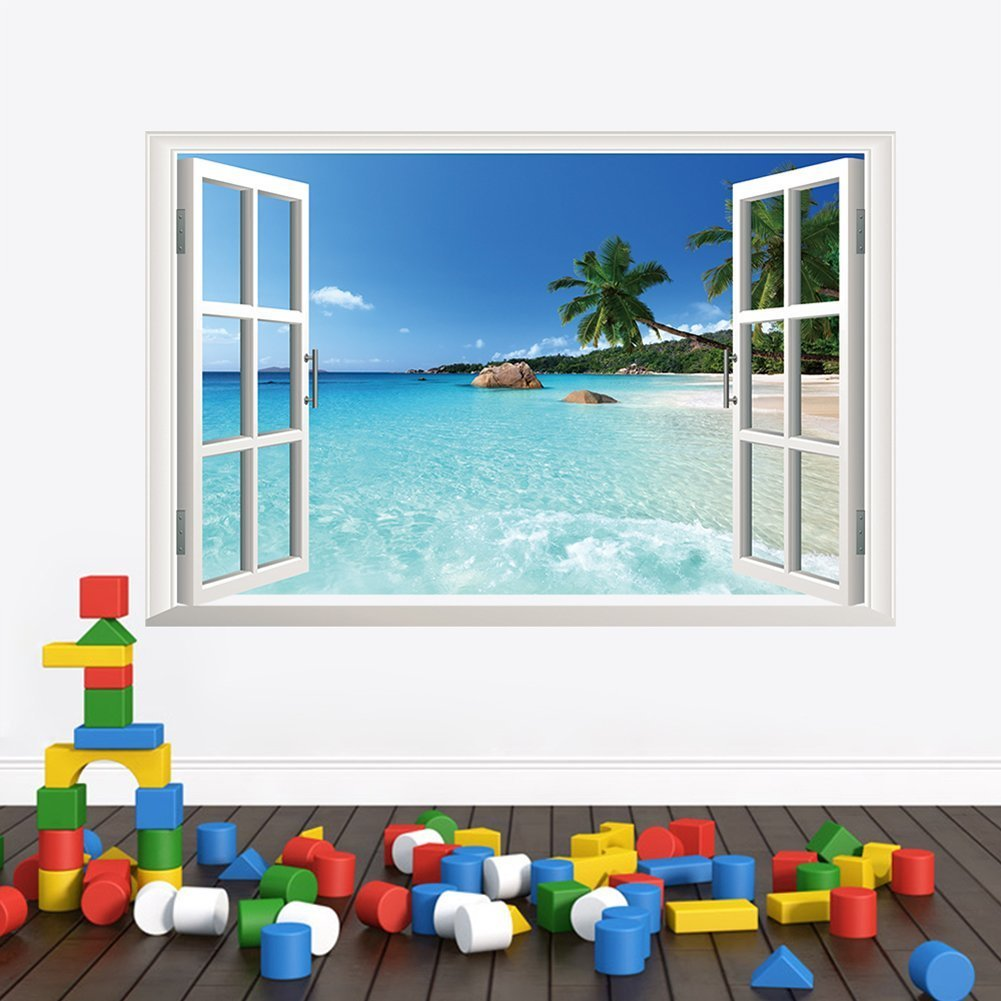 amazon com removable beach sea 3d window view scenery wall amazon com removable beach sea 3d window view scenery wall sticker decor decal baby