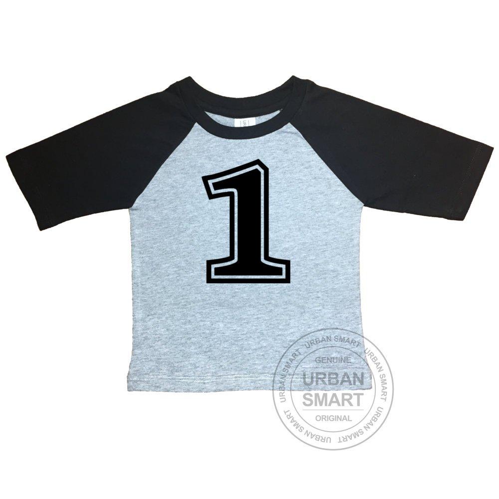 Amazon Urban Smart Number One First 1st Birthday Shirt Grey Body Black Sleeve Baseball 100 Premium Cotton 168001 Clothing