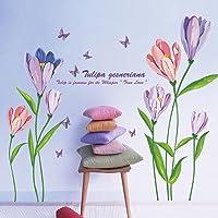 WandSticker4U® - Muurtattoo aquarel bloemen TULPEN in violet & roze I wandafbeeldingen: 150x108 cm I muursticker bloemen…