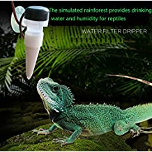 Reptile Drinking Fountain, simulated rain forest water droplets for the reptile to provide drinking water and humidity, Automatic watering water purifier with water purification function