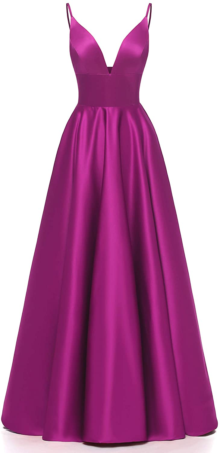 Fuchsia Ri Yun Women's Spaghetti Strap V Neck Prom Dresses Long 2019 Satin Aline Evening Formal Gown with Pockets