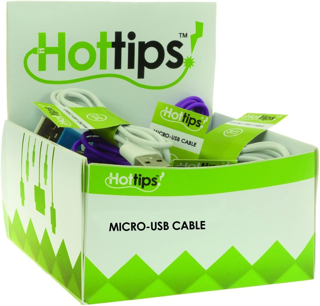 6 Pack of 24 Case of 144 Hottips 1876729 Tray Pack Micro USB Cable Assorted