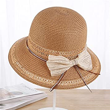 63803d9631f ALWLJ Ladies Wide Brim Straw Hats Summer Women Sun Hat Seaside Beach Bow  Basin Cap Foldable