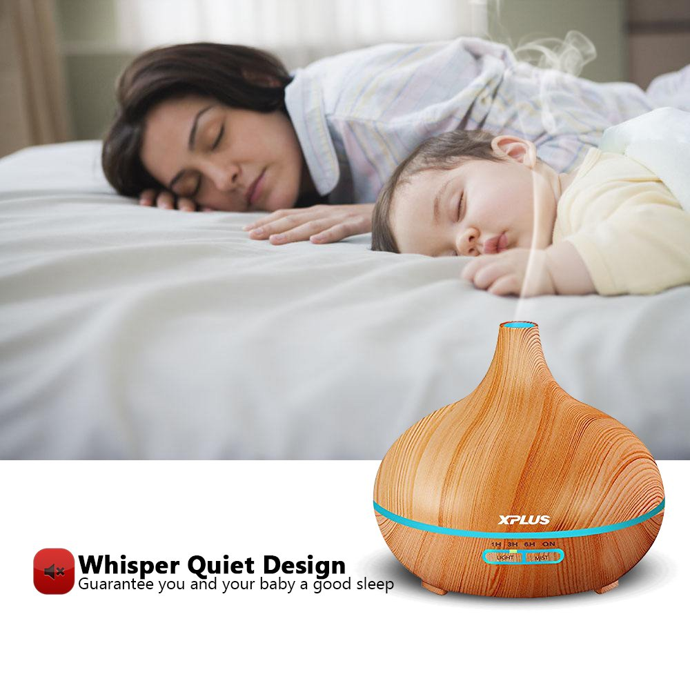 Essential Oil Diffuser,XPLUS 300ml Wood Grain Ultrasonic Cool Mist Humidifier With Adjustable Mist Mode,Multi-Color Light and Waterless Auto Shut-Off for Office Home Bedroom Living Room Study Yoga Spa (Wood Grain)